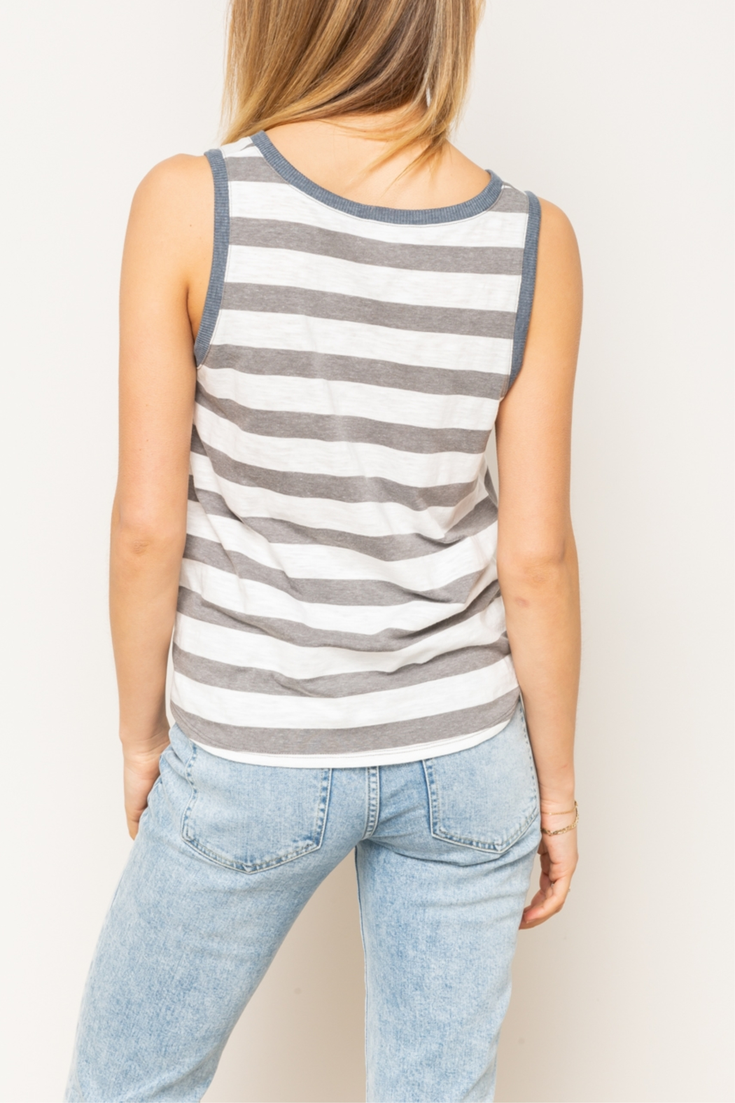 Hem & Thread Mixed Striped Tie Front Tank Top - Side Cropped Image
