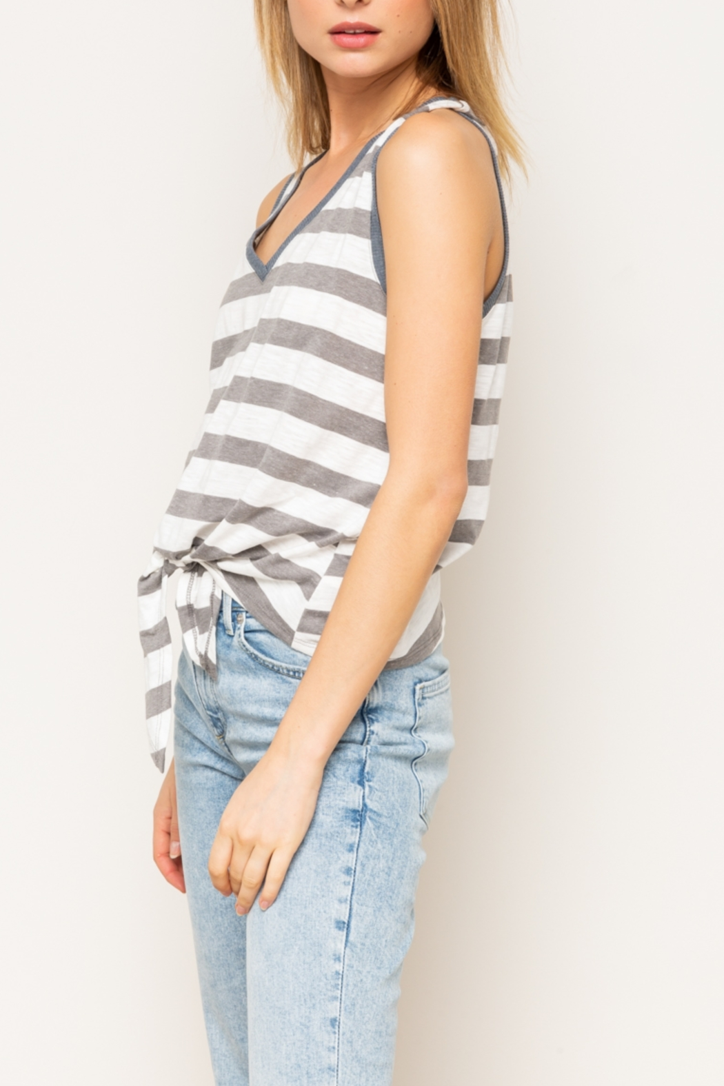 Hem & Thread Mixed Striped Tie Front Tank Top - Front Full Image