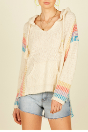 Vintage Havana Mixed stripes baja sweater - Front cropped