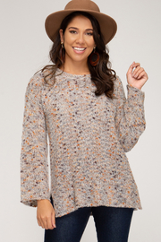 She & Sky  Mixed Yarn Tunic - Front cropped