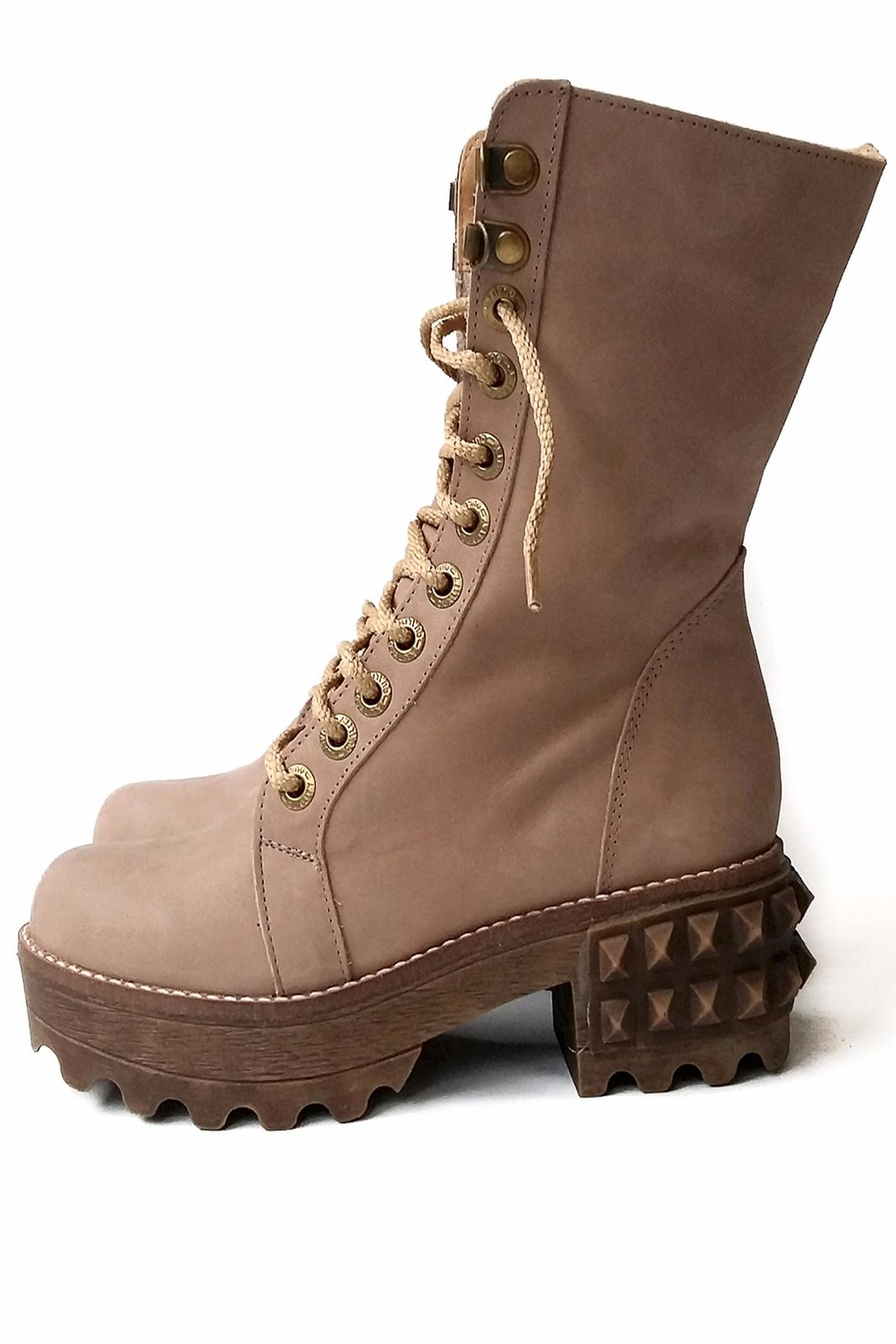 MIYE COLLAZZO Beige Combat Boot - Front Cropped Image