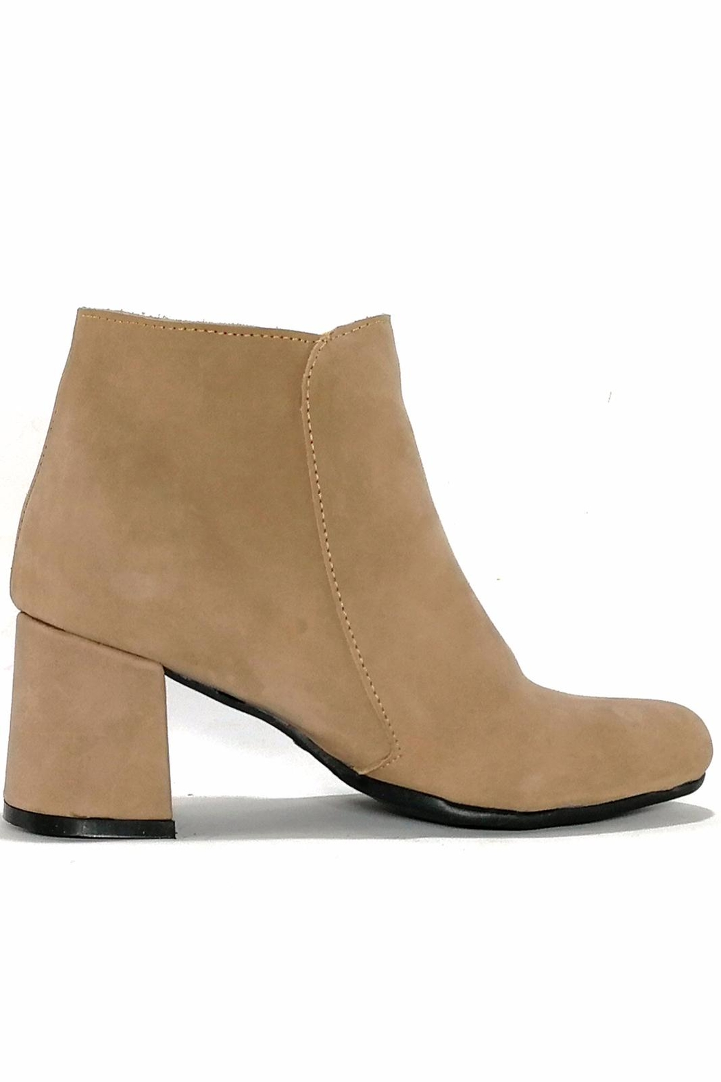 MIYE COLLAZZO Beige Leather Bootie - Side Cropped Image