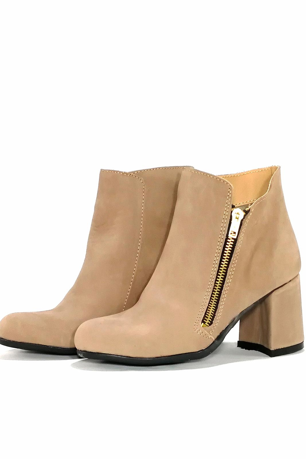 MIYE COLLAZZO Beige Leather Bootie - Front Full Image
