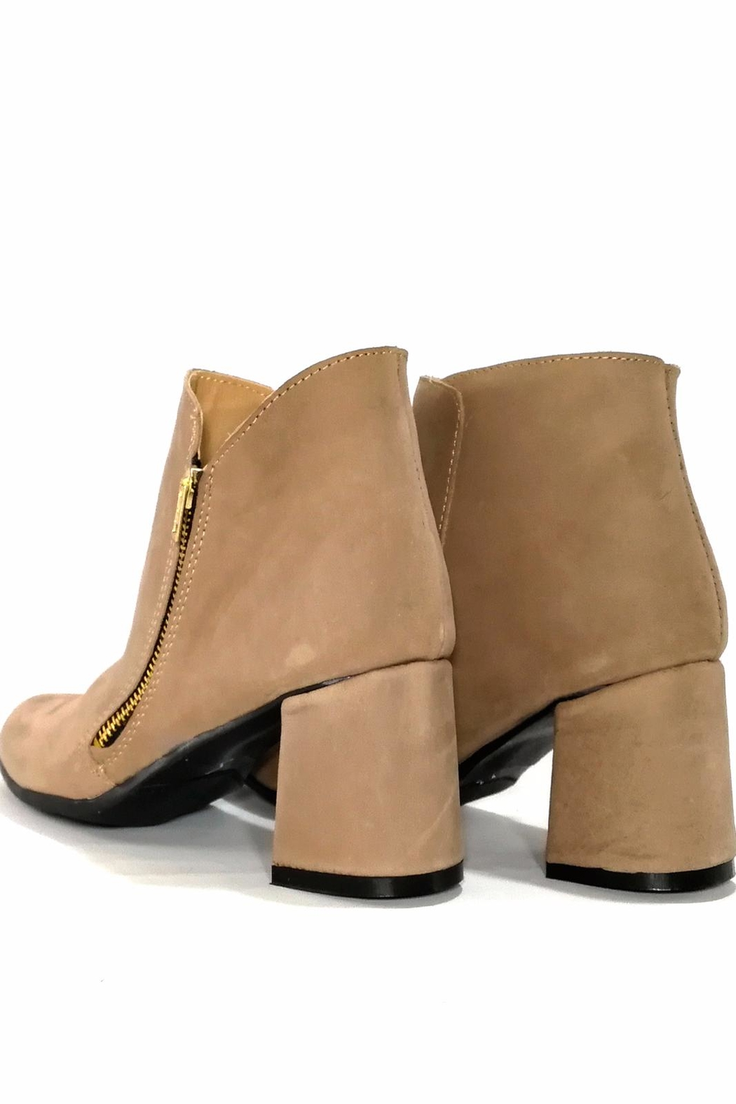 MIYE COLLAZZO Beige Leather Bootie - Back Cropped Image