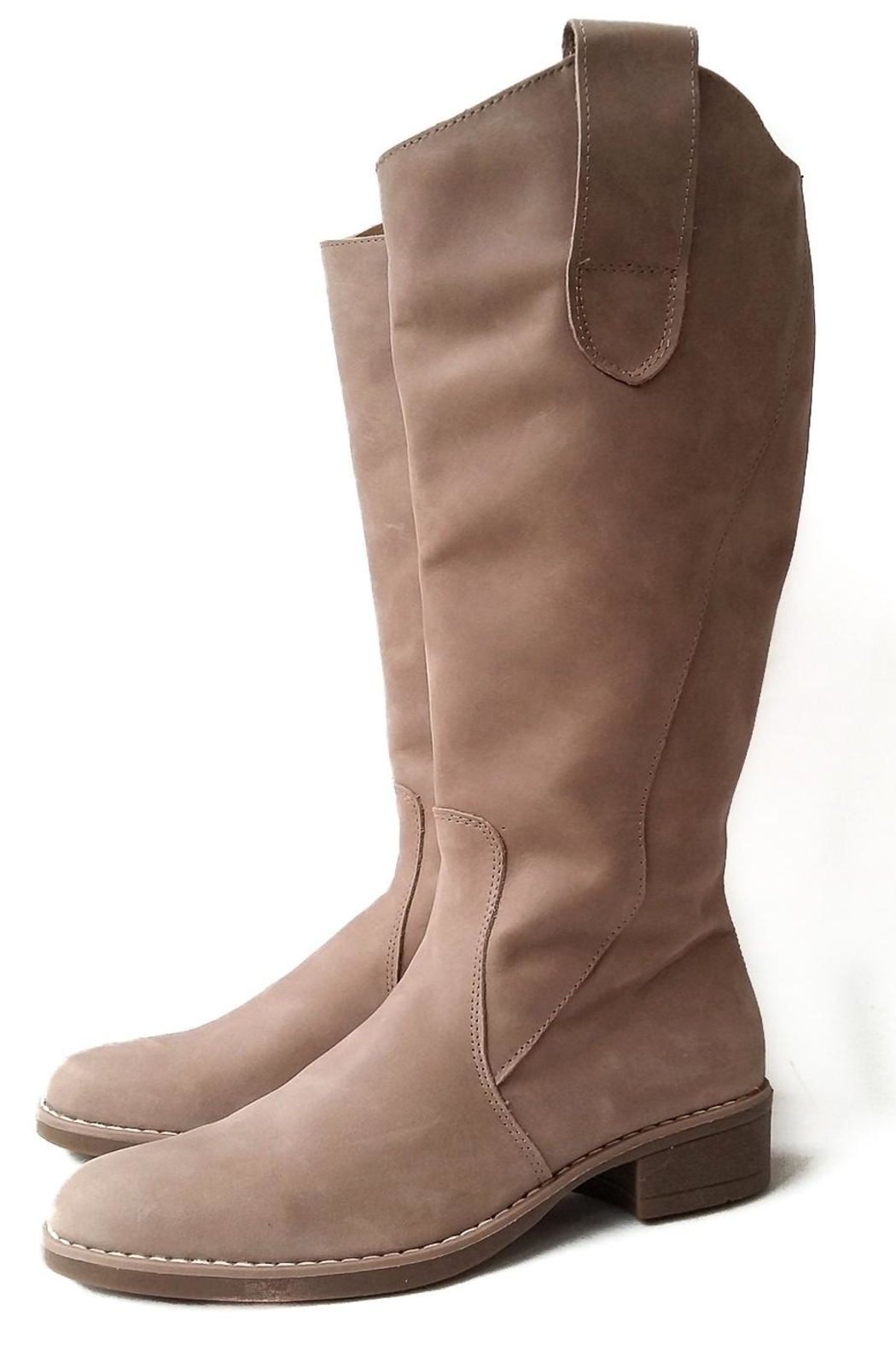 MIYE COLLAZZO Beige Riding Boot - Front Full Image