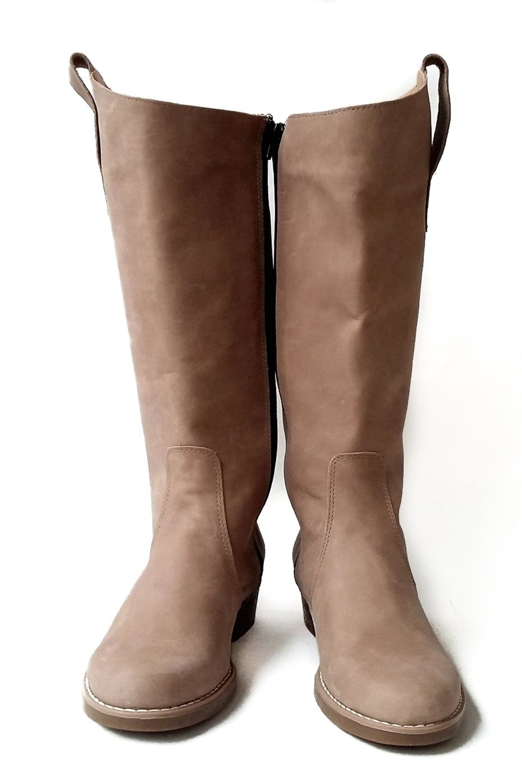 MIYE COLLAZZO Beige Riding Boot - Back Cropped Image