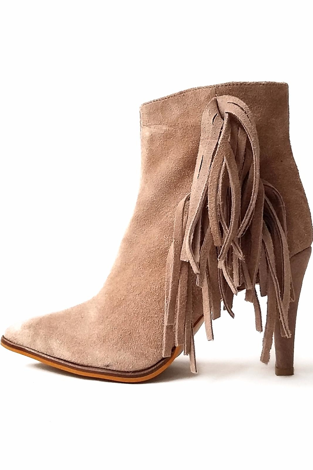 MIYE COLLAZZO Beige Suede Bootie - Front Cropped Image