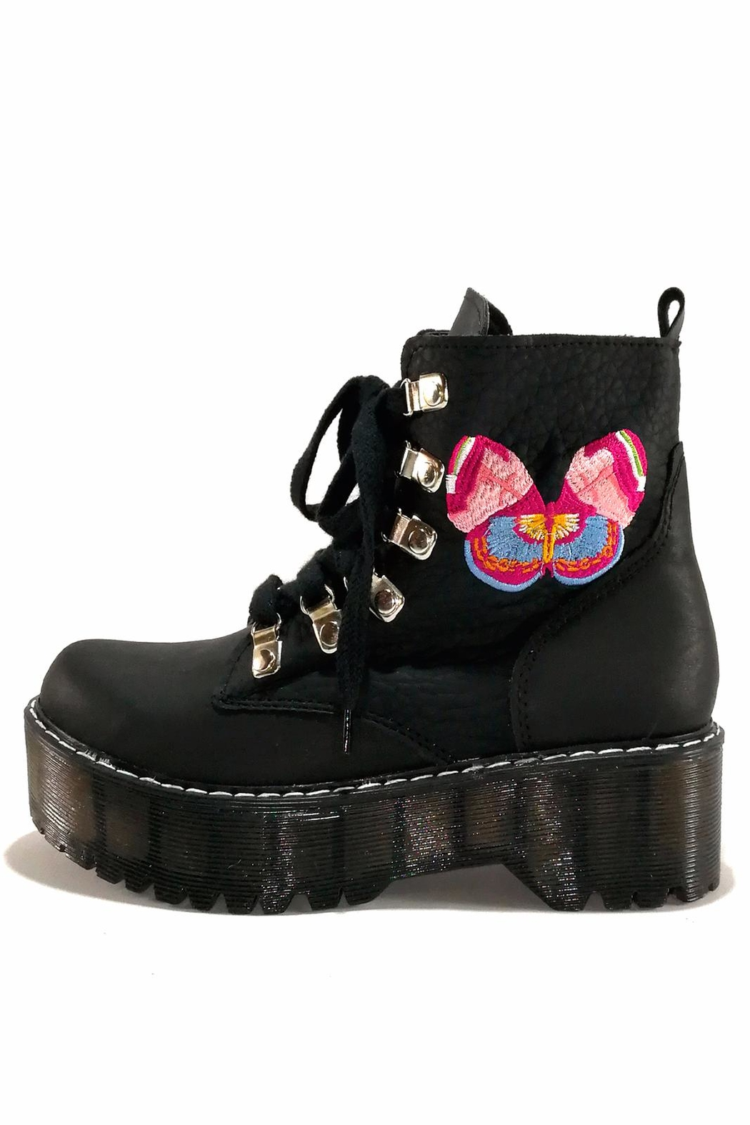 MIYE COLLAZZO Black Butterfly Boots - Front Full Image