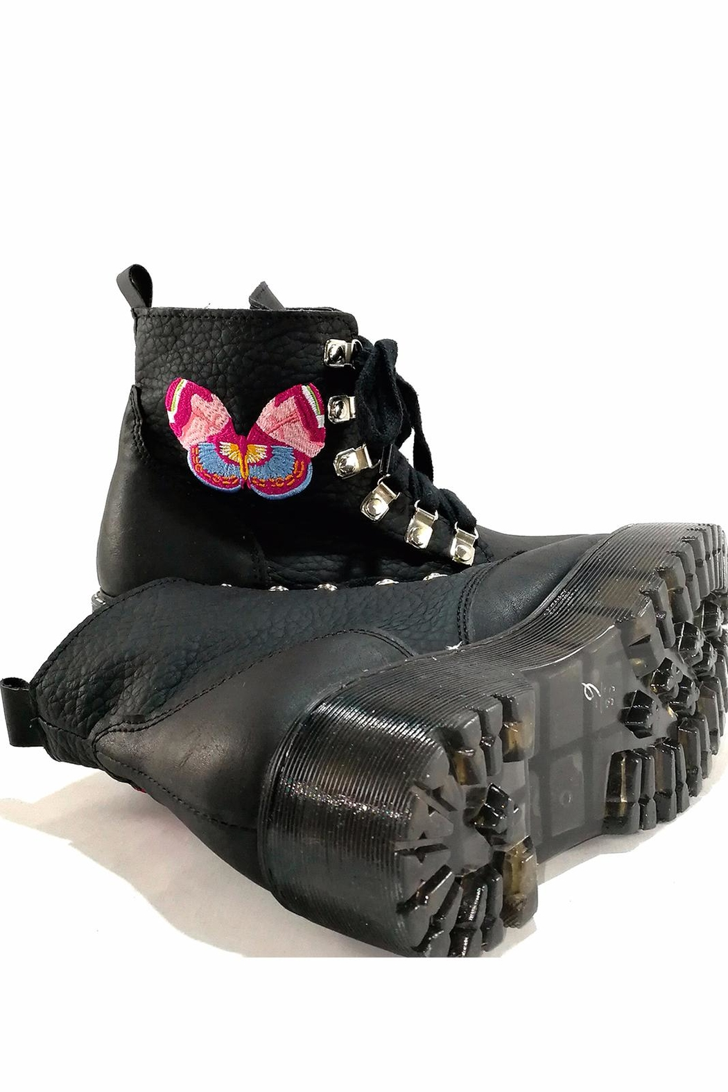 MIYE COLLAZZO Black Butterfly Boots - Back Cropped Image
