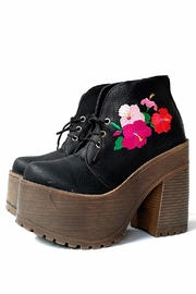 MIYE COLLAZZO Black Embroidered Bootie - Front full body