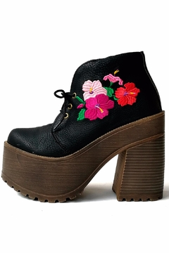Shoptiques Product: Black Embroidered Bootie