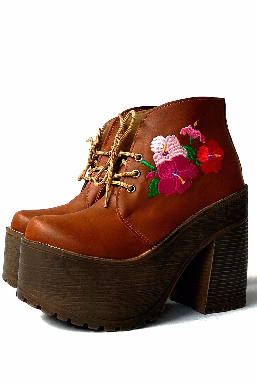 MIYE COLLAZZO Brown Embroidered Bootie - Front Full Image