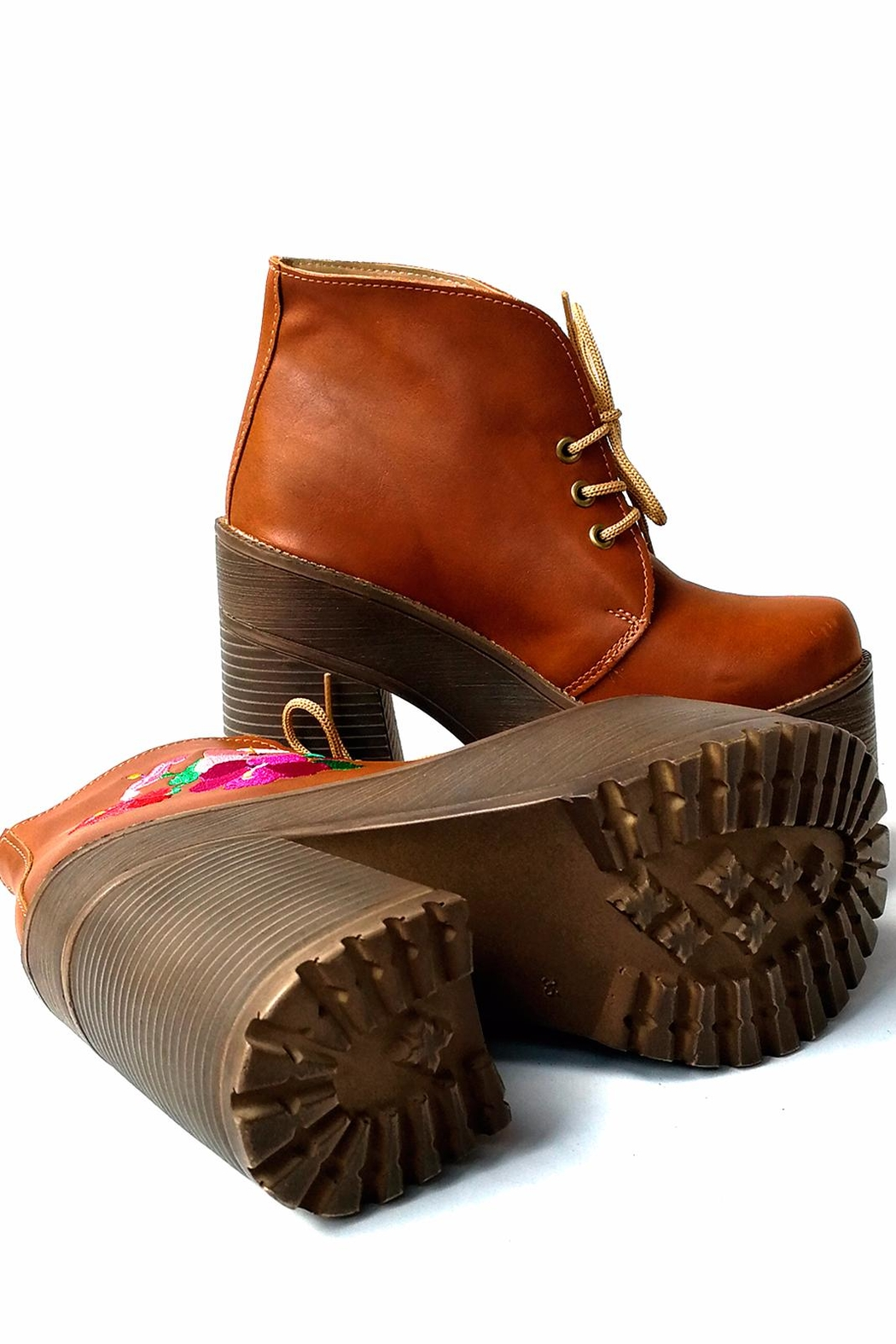 MIYE COLLAZZO Brown Embroidered Bootie - Back Cropped Image