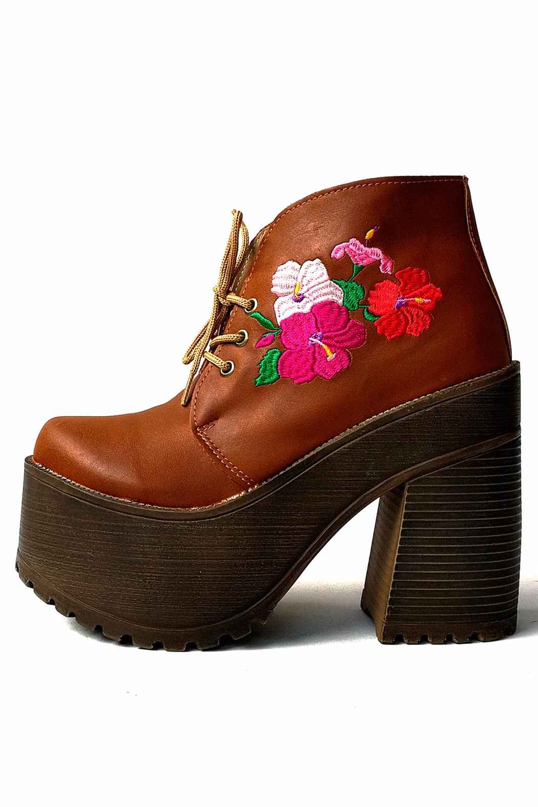 MIYE COLLAZZO Brown Embroidered Bootie - Main Image
