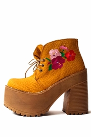 MIYE COLLAZZO Mustard Embroidered Bootie - Product Mini Image