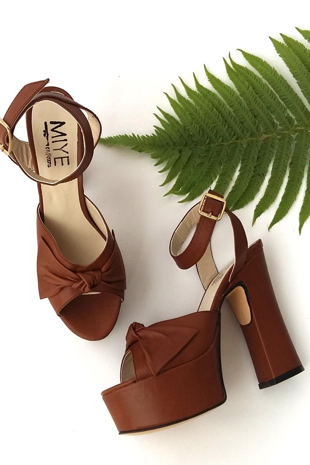 MIYE COLLAZZO Brown Taco Leather Sandal - Front Full Image