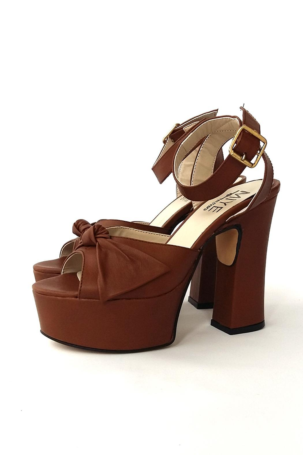 MIYE COLLAZZO Brown Taco Leather Sandal - Back Cropped Image