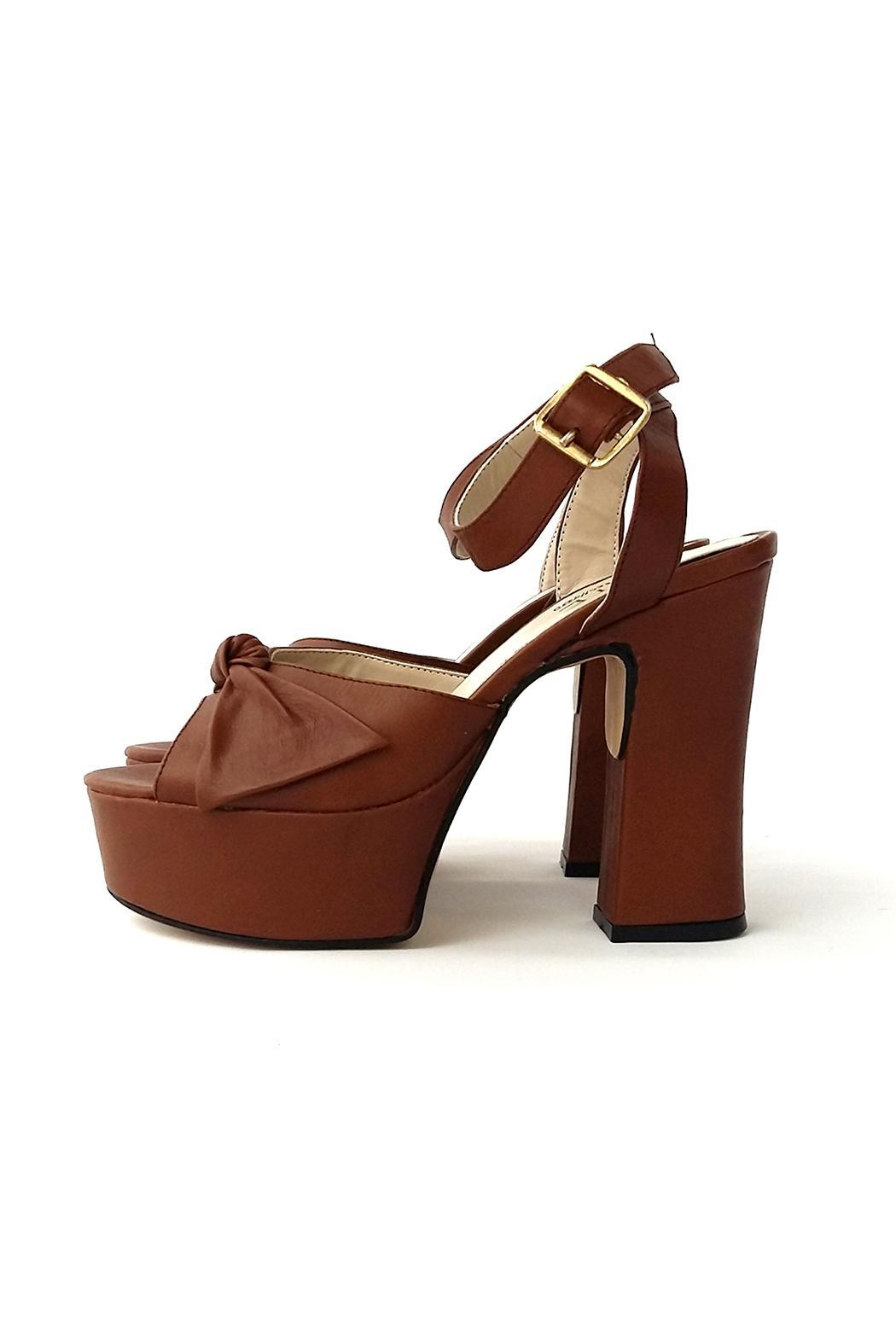 MIYE COLLAZZO Brown Taco Leather Sandal - Front Cropped Image