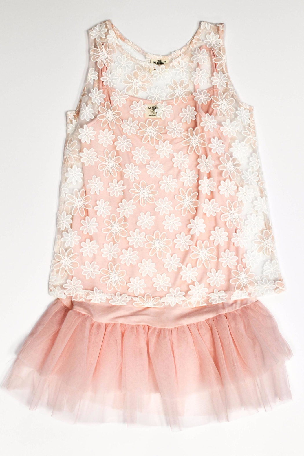 ML Kids Pink Lace Overlay - Front Cropped Image