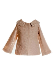 ML Kids Quilted-Daisy-Print Crochet-Neckline Jacket - Front cropped