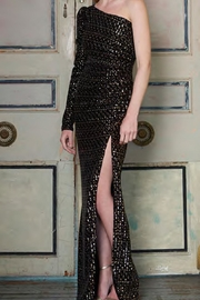 Ml Monique Lhuillier One-Shoulder Sequin Gown - Product Mini Image