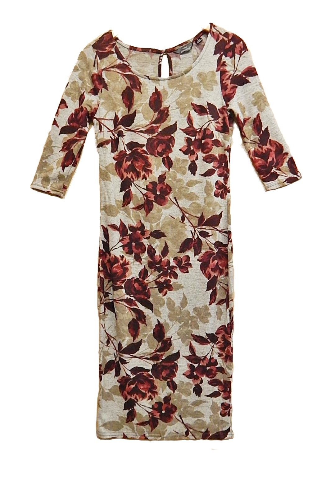 Mlle Gabrielle Burgundy Floral Dress - Main Image
