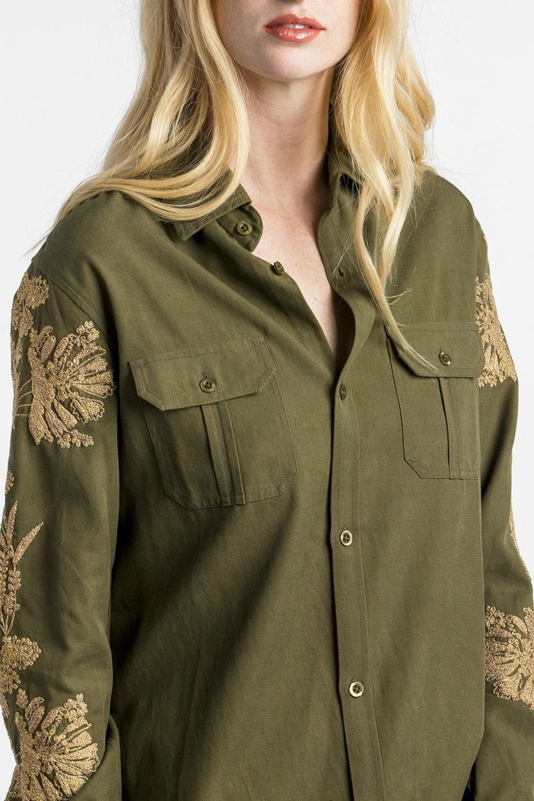 MM Vintage Embroidered Miltary Green Shirt - Front Full Image