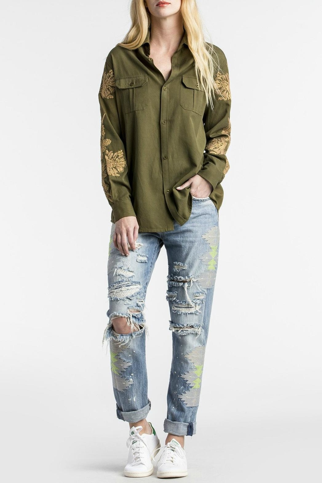 MM Vintage Embroidered Miltary Green Shirt - Main Image
