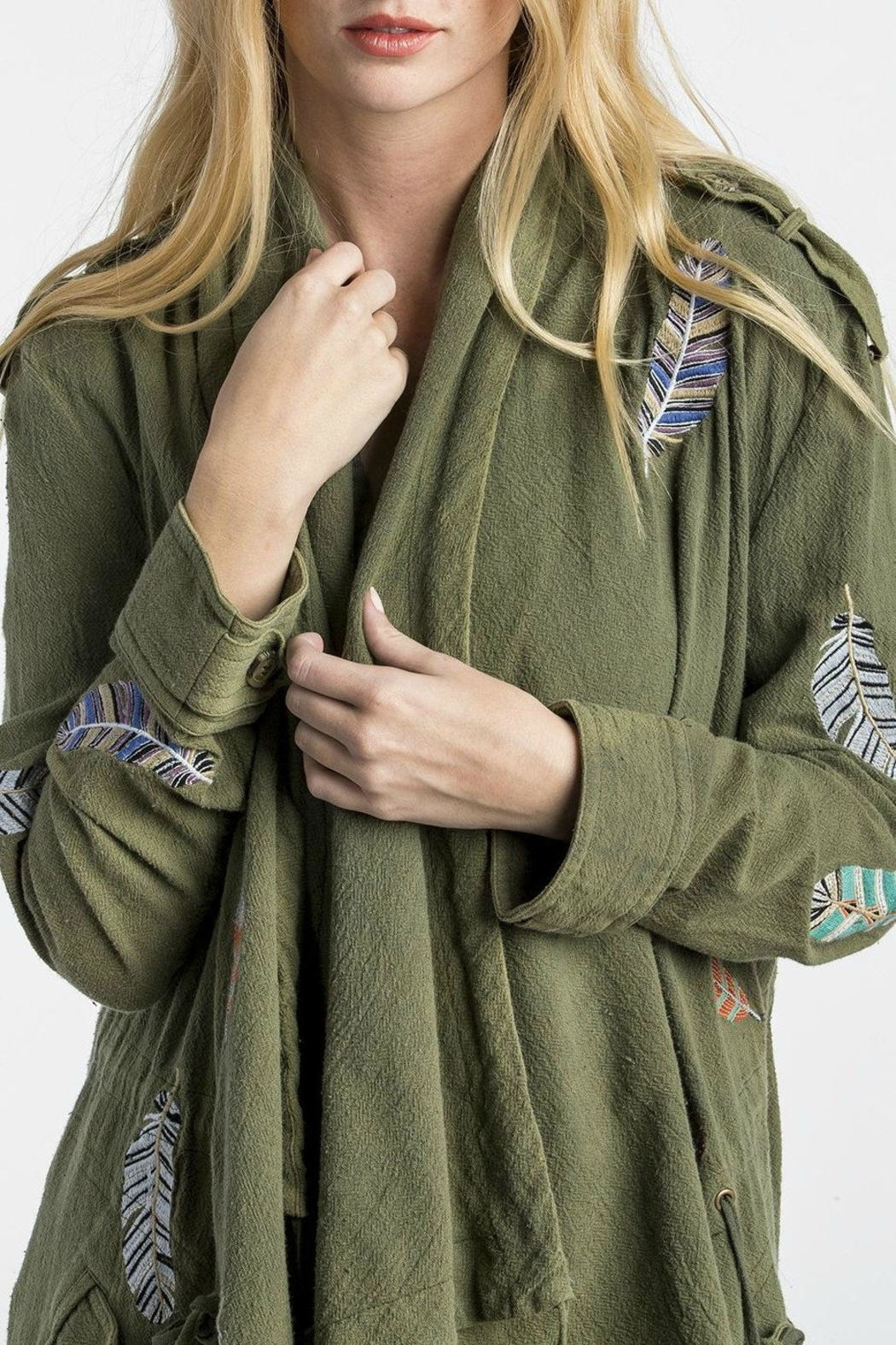 MM Vintage Feather Embroidered Olive Jacket - Side Cropped Image