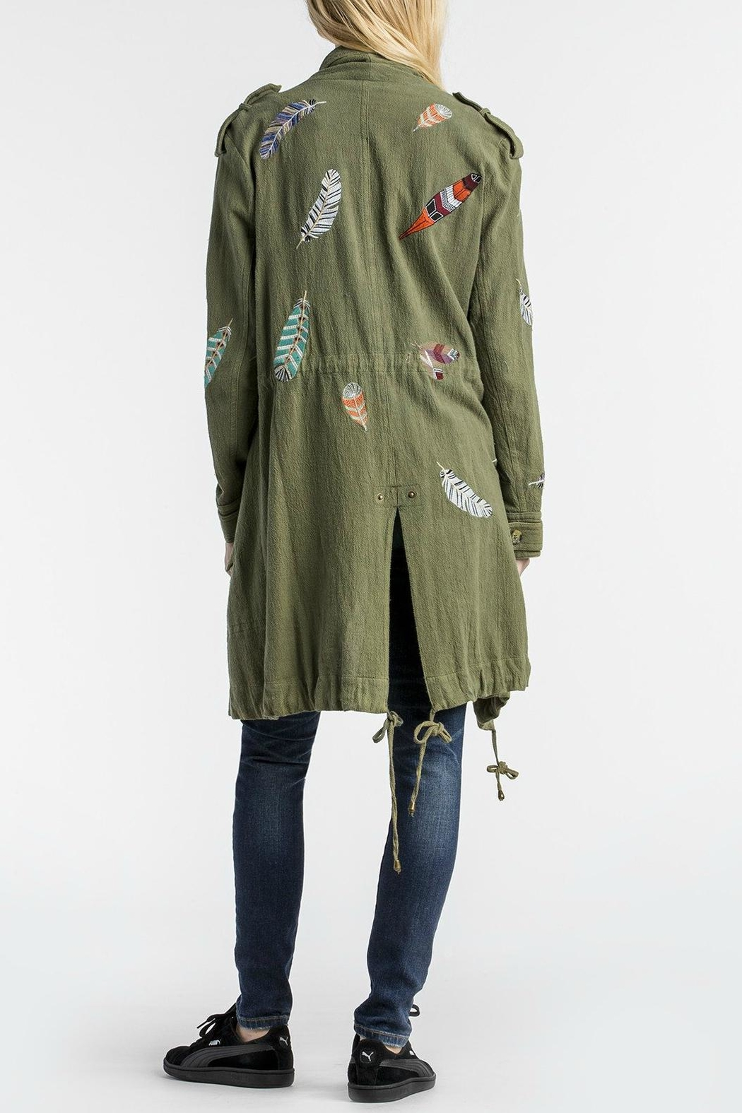 MM Vintage Feather Embroidered Olive Jacket - Front Full Image