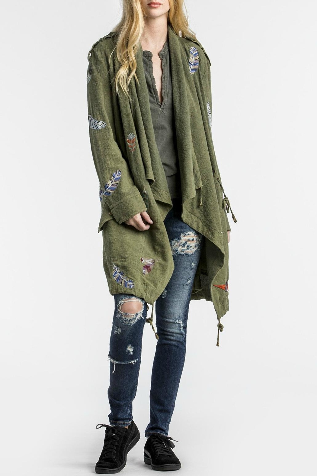 MM Vintage Feather Embroidered Olive Jacket - Main Image