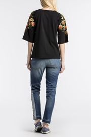 MM Vintage Floral Embroidered Black-Top - Front full body