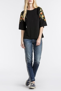 Shoptiques Product: Floral Embroidered Black-Top