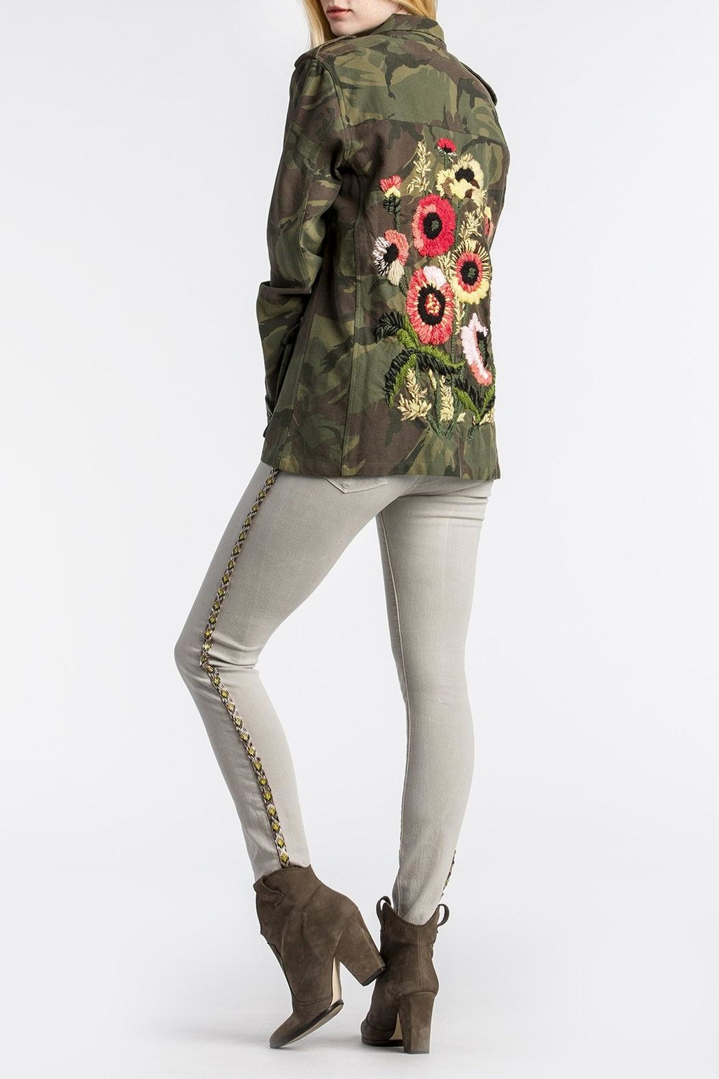 01f9f53aed513 MM Vintage Floral-Embroidered Camo Military-Jacket - Front Cropped Image