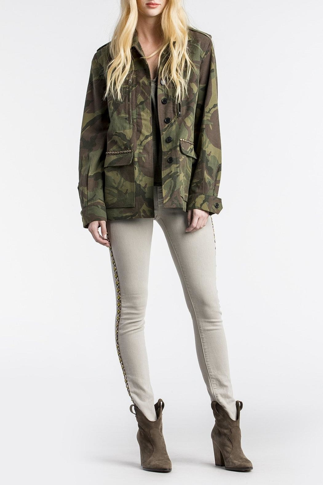MM Vintage Floral-Embroidered Camo Military-Jacket - Front Full Image