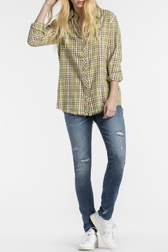 Shoptiques Product: Rose Embroidered Plaid Shirt