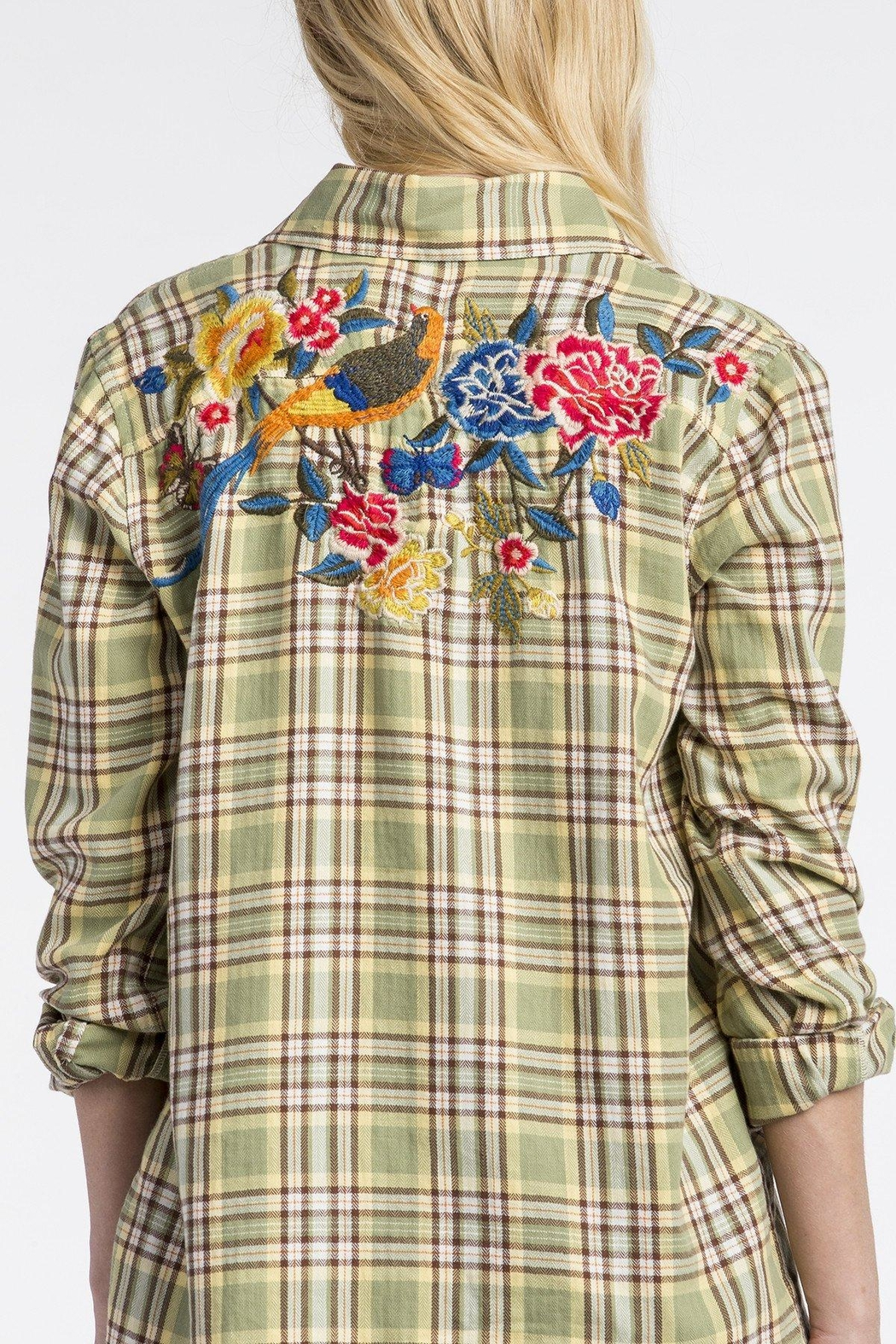 MM Vintage Rose Embroidered Plaid Shirt - Front Cropped Image