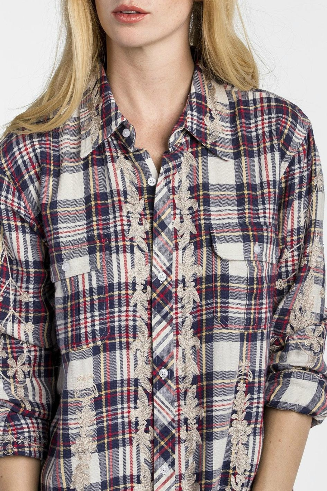 MM Vintage Scroll Embroidered Plaid Top - Side Cropped Image