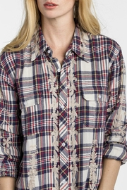 MM Vintage Scroll Embroidered Plaid Top - Side cropped