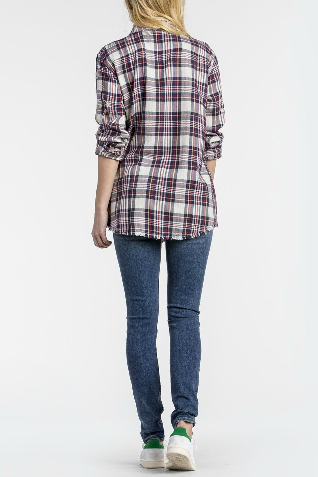 MM Vintage Scroll Embroidered Plaid Top - Front Full Image
