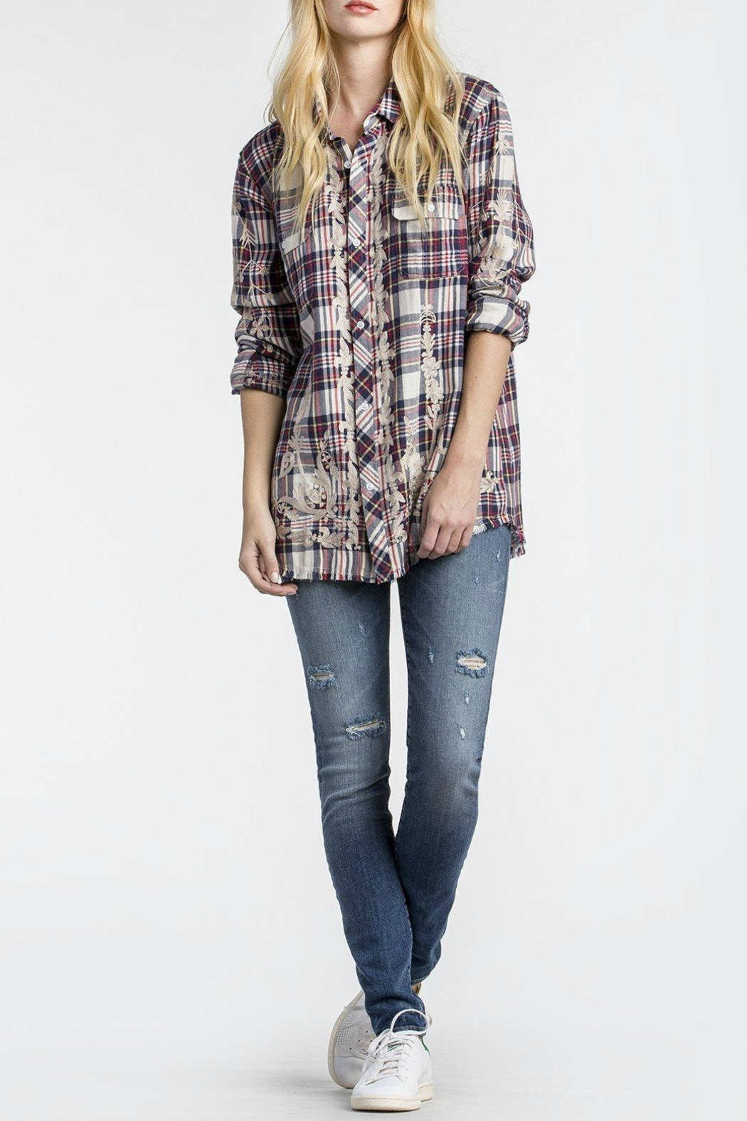 MM Vintage Scroll Embroidered Plaid Top - Main Image