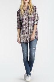 MM Vintage Scroll Embroidered Plaid Top - Product Mini Image