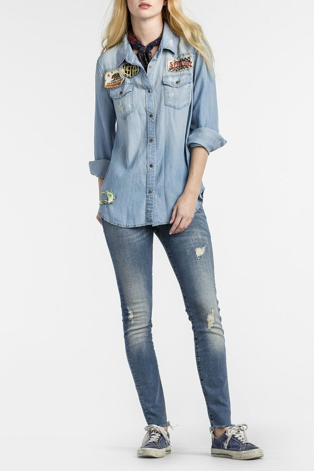 MM Vintage Vintage-Patched Chambray Shirt - Main Image