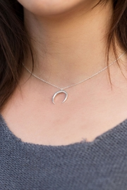 MMA Silver Cresent Moon Pendant - Front full body