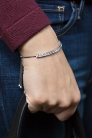 MMA Silver Crystal Bolo Bracelet - Front cropped