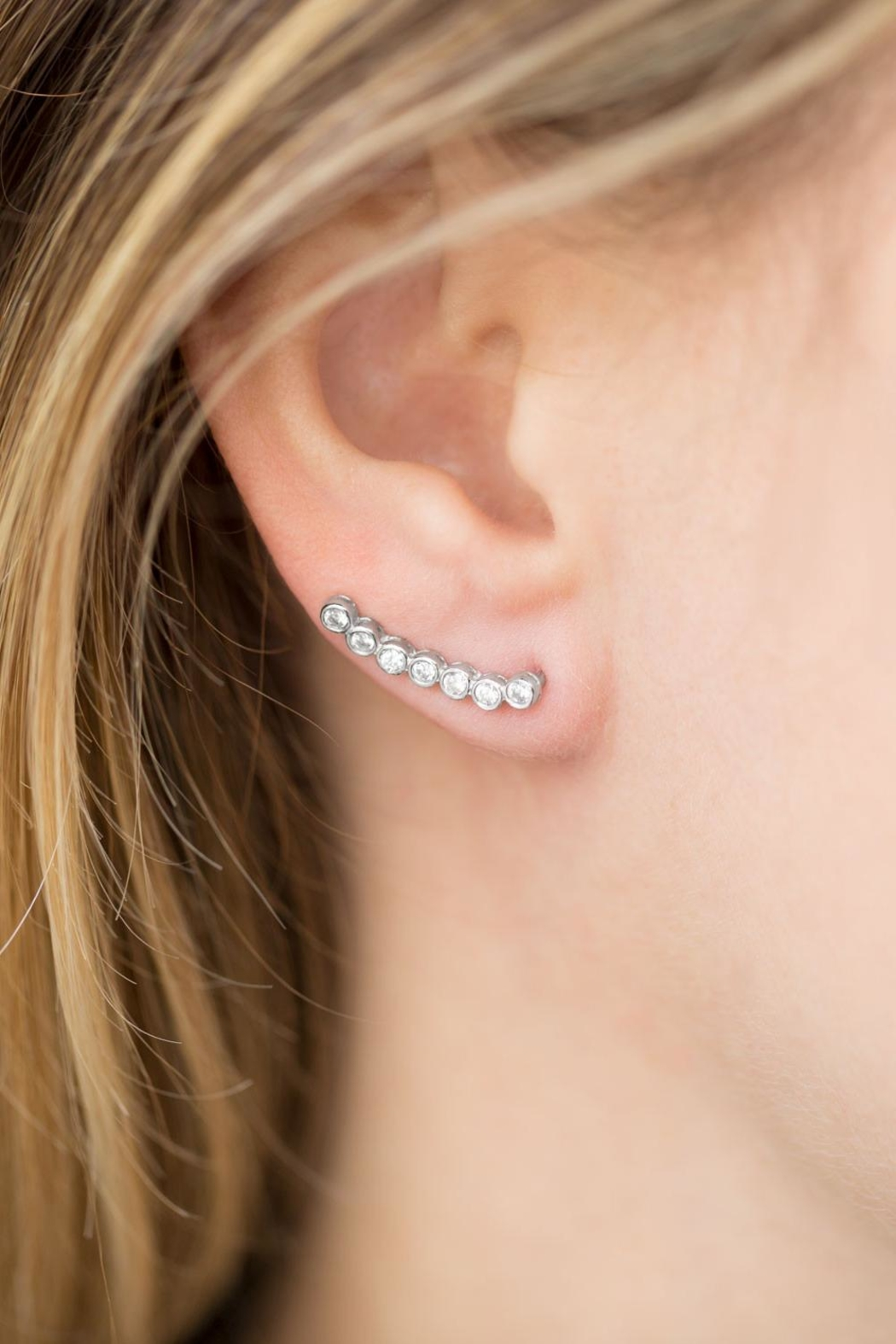 MMA Silver Cz Ear Climbers - Front Full Image