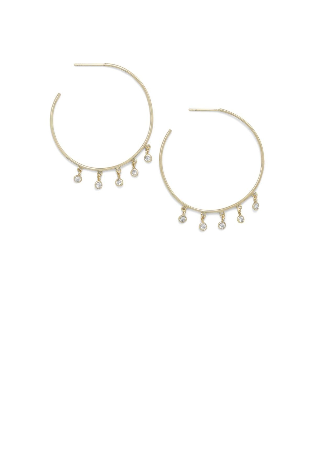 MMA Silver Dangling Cz Hoops - Side Cropped Image