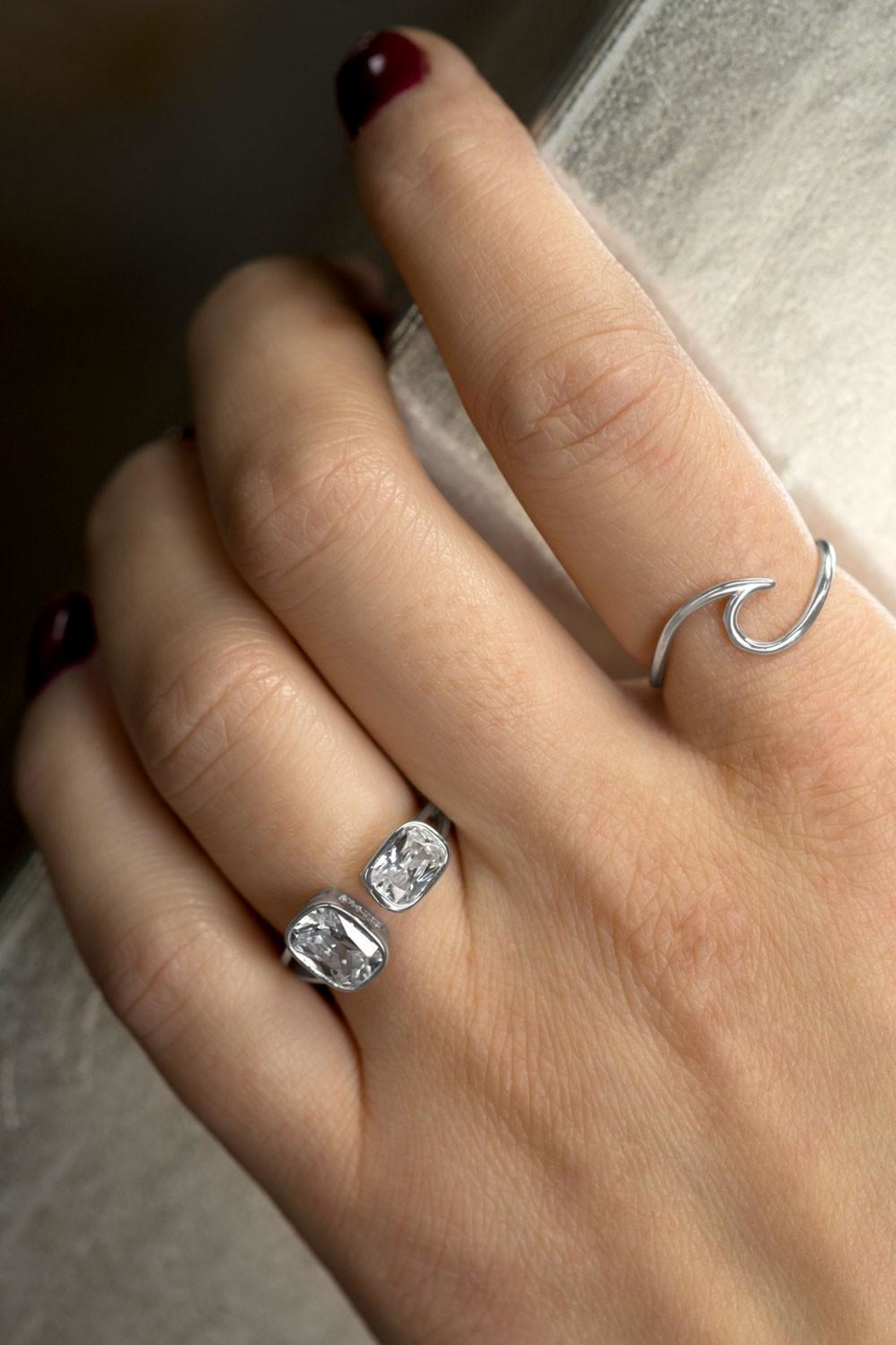 MMA Silver Eliza Crystal Ring - Front Full Image