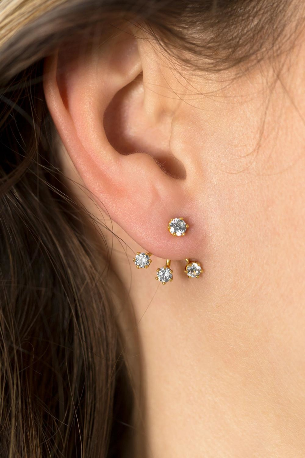 MMA Silver Front Back Earrings - Front Full Image