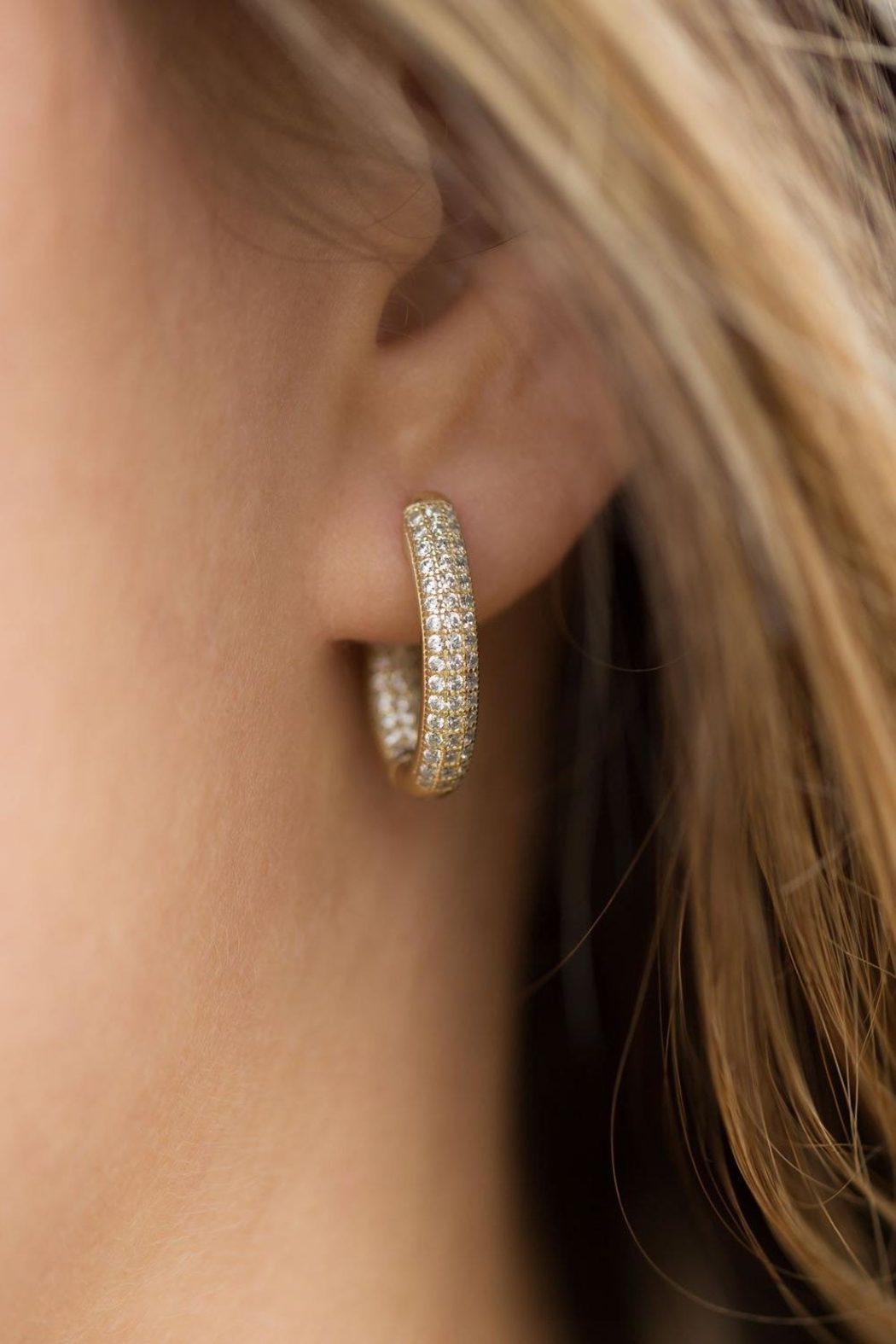 MMA Silver In/out Hoop Earrings - Front Full Image